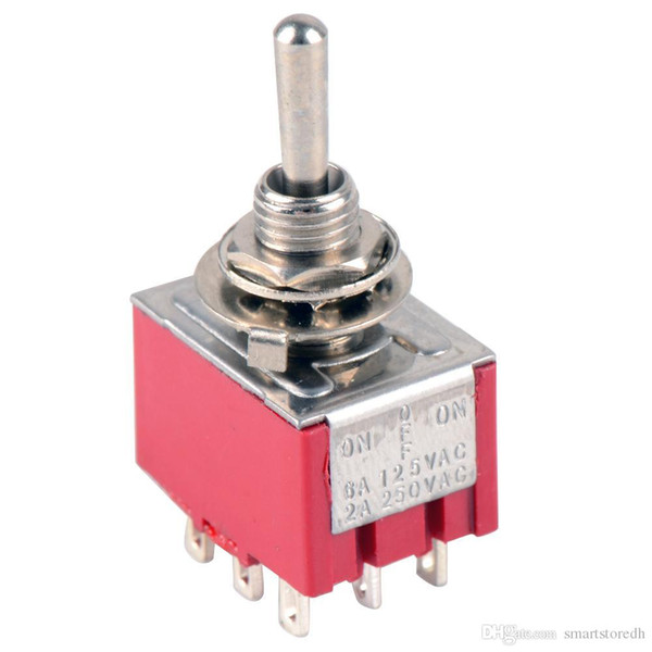 top popular 1Pc Mini MTS-203 9-Pin DPDT ON-OFF-ON Toggle Switch 6A 125VAC B00088 JUST 2021