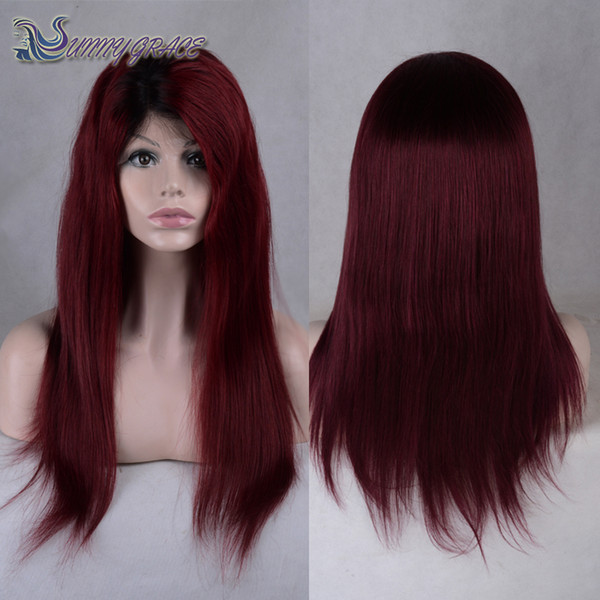 Free shipping Hot selling lace front wig 99j natural straight dark root Wine Red glueless full lace human hair wigs For Black Women