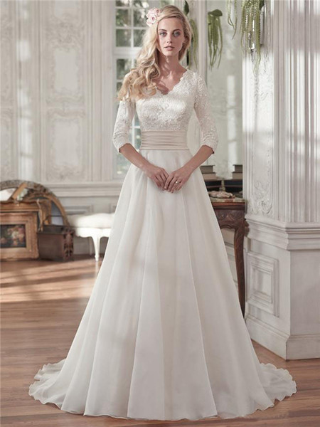 Mode t beaded lace a line wedding dre e 2019 with half leeve vintage v neck equin ruched organza plu ize covered button bridal gown, White