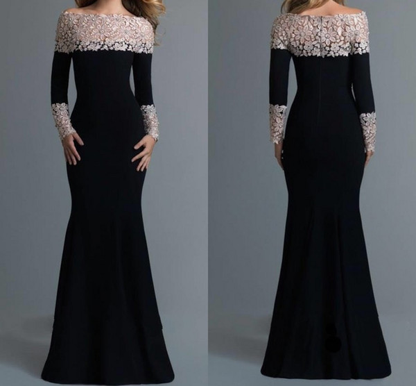 Elegant Black Long Sleeve Lace Mermaid Evening Dress 2017 Boat Neck Satin Formal Gowns Custom Made Prom Dresses Free Shipping