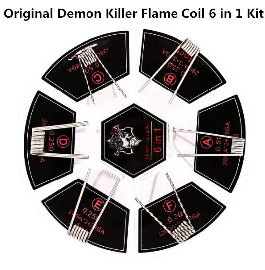 100% autentico Demon Killer Flame Coil 6 in 1 Kit precostruito 0,25 0,3 0,35 0,5ohm Cavo di riscaldamento 316L