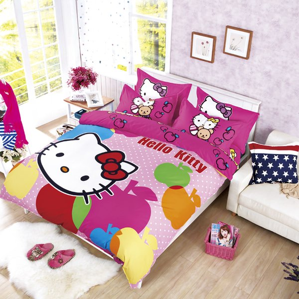 Wholesale- Our Polyester Cotton reactive printed Hello Kitty bedding set, full, queen queen size bed coverlet set, 3/4 pcs, fast shipping!