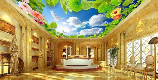 3d personalizzato soffitto foto parete murale Cielo blu e nuvole bianche piccione verde lea parati soffitto per soggiorno 3d carta da parati soffitto