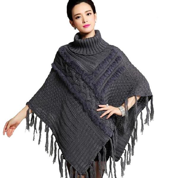 Kadın Saçaklı Kazaklar Püsküller Sonbahar Kış Örme Tavşan Kürk Panço Feminino Turleneck Şal Vintage Yün Palto