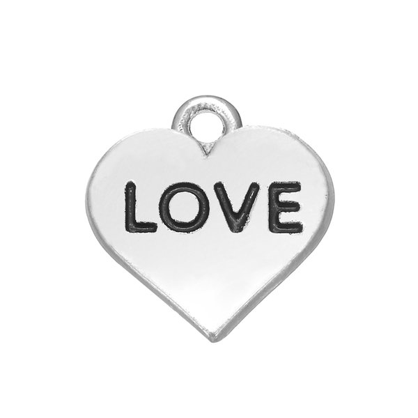 LOVE Rhodium Plated Romantic Love On Heart engraved Charms DIY Necklace&Bracelet Jewelry Special hot sell style