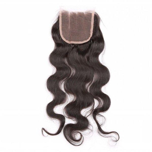 Cierre 4x4 grado 10A brasileña del encierro del cordón brasileño de la Virgen del Perú Malasia Mongolia onda del cuerpo del pelo humano