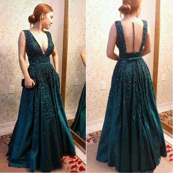 V-neck elegant dresses emerald green Celebrity country dress Floor Length Runway 2019 pregnant modest dress beadings bows evening gowns