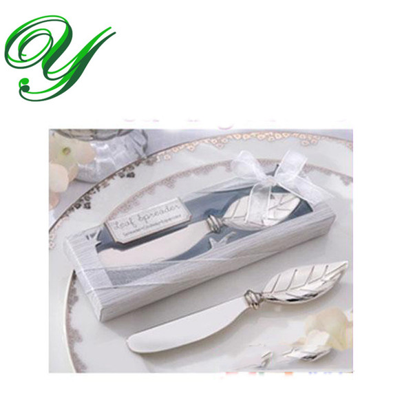 best selling butter fork wedding favors butter spatula jam cheese spreader knife dinner fork 13cm leaves handle PVC box table decoration wedding gifts
