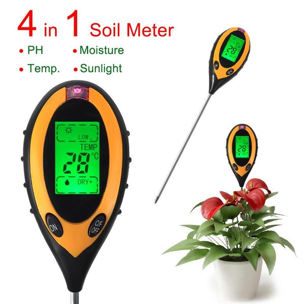 4 In 1 Plant Digital Soil Thermometer Hygrometer PH Meter Moisture Light Meter Indoor Outdoor For Grow Plant Sunlight Soil Meter