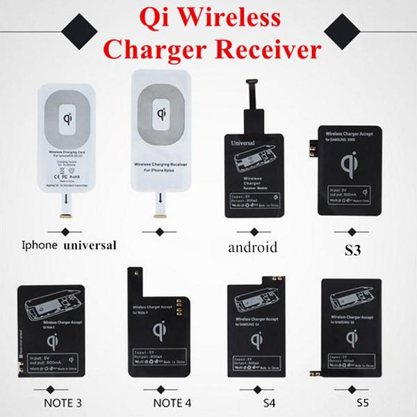 Cargador inalámbrico Qi Módulo receptor Adaptador de carga de alta velocidad para iPhone 7 6 6S Plus 5S Samsung Galaxy S4 S5 Note3 Note4 Type-C