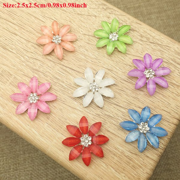 50pcs Daisy Flower Buckle Jewelry Making Charms Flatback Rhinestone For Clothing Crystal Hair Clips Accessories Button Findings Drilling DIY