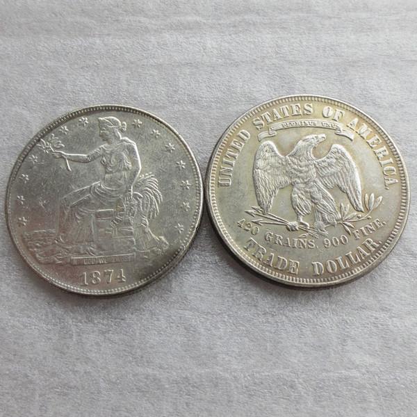 Vendita calda Monete USA 1874 Monete Dollar One Dollar Commercio al dettaglio Prezzo di fabbrica a buon mercato bella casa Accessori Monete d'argento