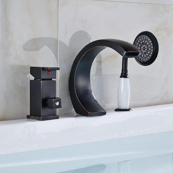 Wholesale and Retail New Oil Rubbed Bronze Bathroom Bathtub Faucet With Single Handles Shower Deck mounted Sink Mixer Tap