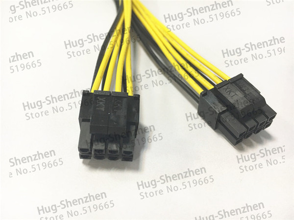 100pcs/lot CPU 8Pin 8P 1 Female to (4+4) pin Male 1 to 2 Splitter Power Lead Y Cable Cord 18AWG 20cm for Dual 2 CPU Motherboard Server PC