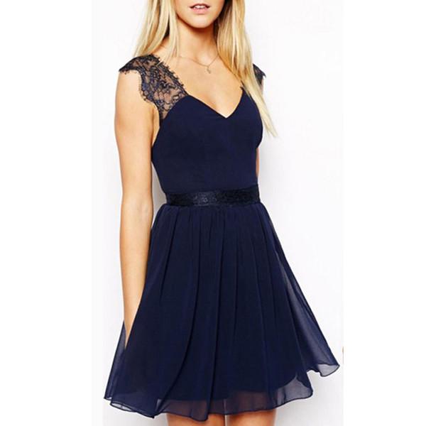 Hot Sexy Women Backless Slim Mini Party Dress Vestidos Elegant Lady Summer V-neck Sleeveless Chiffon Dress Dark Blue Girls Gift
