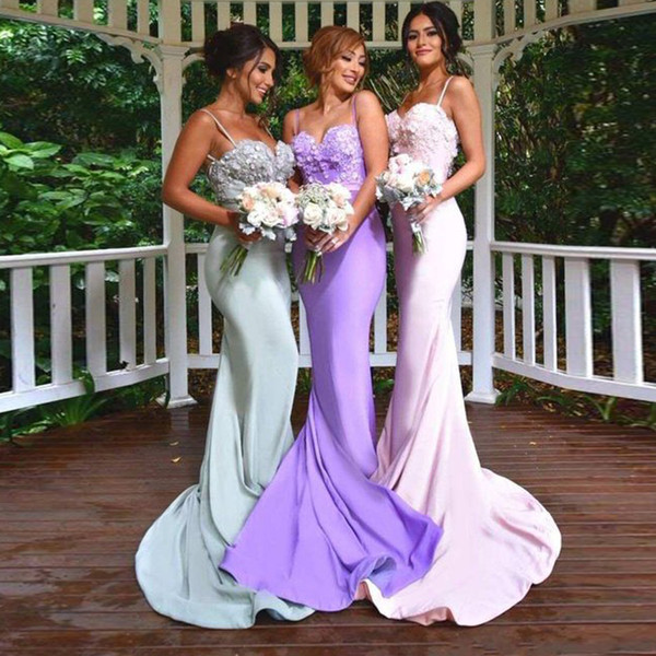 Graciosa Correias De Espaguete Querida Sereia 3d Flores Apliques Sem Encosto Dama De Honra Vestidos Abertos Voltar Longo Vestidos de Festa de Casamento