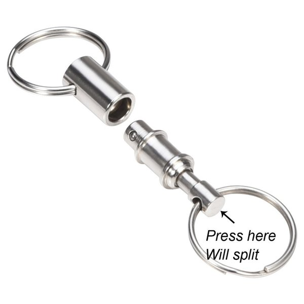 Bluecell Pack of 2 Heavy Duty Dual Key Ring Pull Apart Snap Lock holder Quick-Release Key Holder Pull-Apart KeyRing EDC Gear B105Q