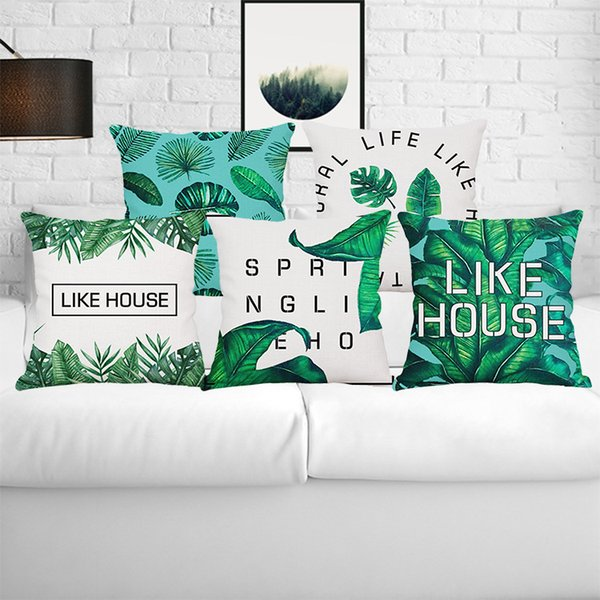 Home Decor Square Tropical Botanics Green Leaves Cotton Linen