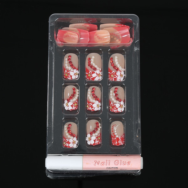 All'ingrosso - Hot! 24PCS Finito chiodi finti con decorazione 3D con strass Falsi chiodi finti Nail Art Tips per Lady / Women Manicure Art