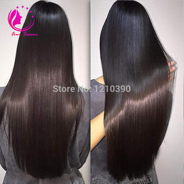 Parrucca lunga U con capelli umani serici diritti per le donne nere Parte laterale / parte centrale Parrucca brasiliana vergine. Colore naturale