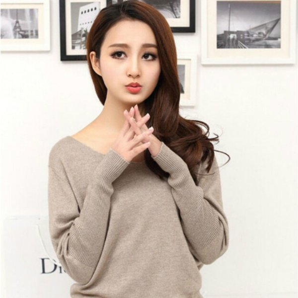 Autumn winter 100 cashmere sweater women fashion sexy v-neck sweater loose long sleeve solid 100% wool sweater