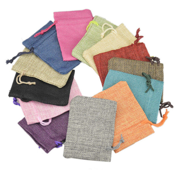 top popular Wholesale Multi Colors Mini Pouch Jute Bag Linen Hemp Small Drawstring Bags Ring Necklace Jewelry Pouches Wedding Favors Gift Packaging 2020