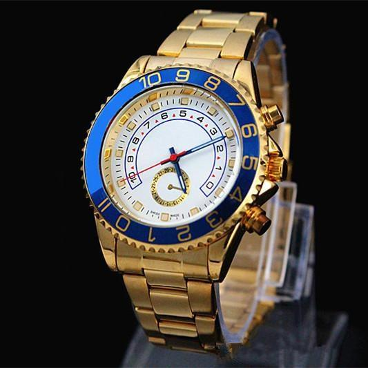 top popular relogio masculino 44MM mens watches dress designer fashion Black Dial Calendar gold Bracelet Folding Clasp Master Male 2019 gifts couples 2019