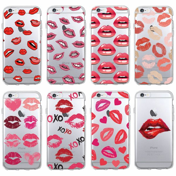 Sexy Lips XOXO Call Me Lipprint Hickey Lipstick Soft Clear Phone Case Coque Fundas For iPhone 7 7P 6 6S 6Plus 5 8 8Plus X