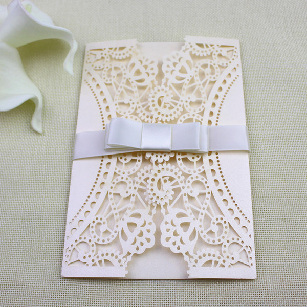 Butterfly Lace Wedding Invitation Cards Nude Pink Birthday Party Invitations Size Is Customized Free Ship Wholesale Luxurious Wedding Invitations Make