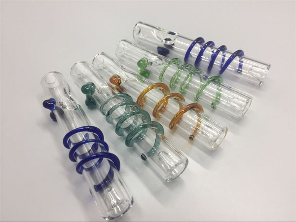 11.5 cm queimador de óleo De Vidro tubo de vidro tubo de montagem de unhas de vidro em espiral Tubo De Mão De Tabaco para fumar