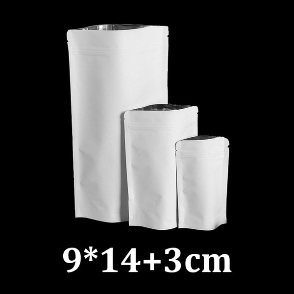 9x14cm resealable ziplock stand up white kraft paper tea bags packaging materials wholesale