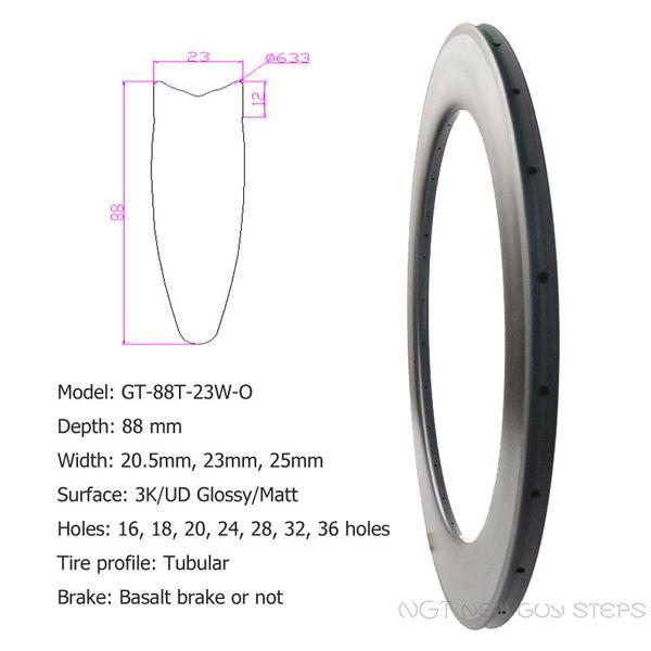 88mm Big Rims Carbon Bike Wheels 3K & UD Glossy or Matte Surface Good Quality Custom Holes Bike Wheel