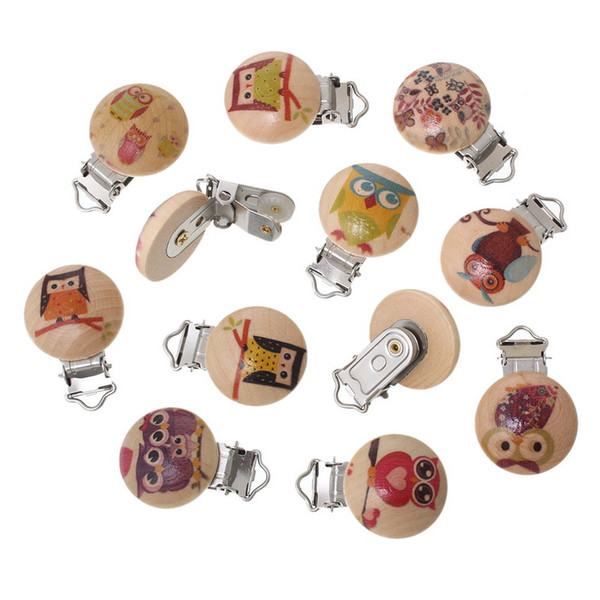 4 Style hot 5pcs/lot Wooden Baby Children Pacifier Holder Clip Infant New Creative Cute Round Nipple Clasps For Baby Product