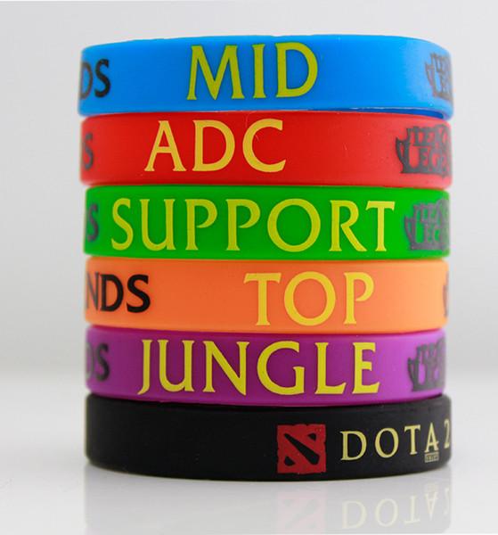50 шт. / лот, новый модный LoL League of Legend браслет, силиконовый браслет с АЦП, джунгли, середина, поддержка, Dota 2 печатной группы