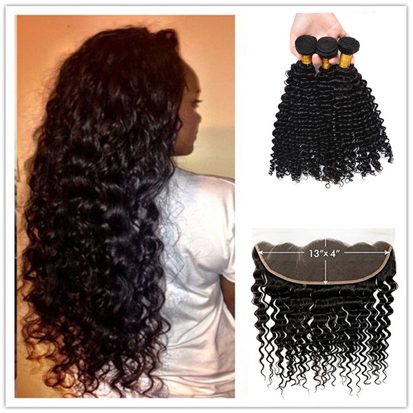 7A Virgin Indian Deep Curly Hair With Frontal Closure 3 Bundles Ear To Ear Lace Frontal With Baby Hair And Bundles Fast Deals