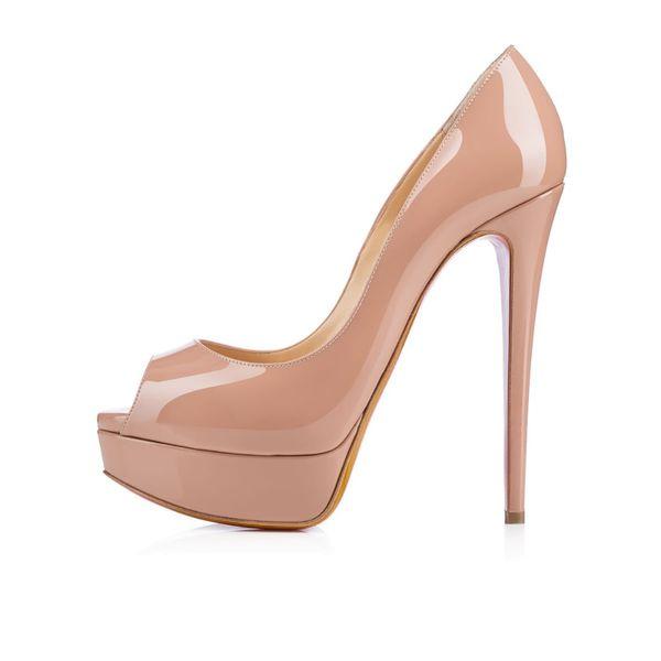 5a1914260d10c Großhandel Klassische Marke Red Bottom High Heels 14 Cm Heels Plateau Pumps  Nude / Schwarz Lackleder Peep Toe Frauen Kleid Sandalen Schuhe Größe 35 ...