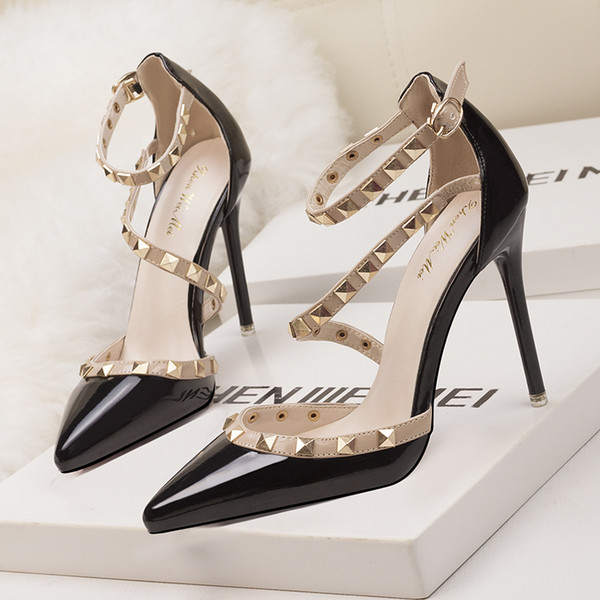 215f4e63969 2018 fetish red high heels women shoes wedding shoes Rivet mary jane pumps  escarpins femme ladies lolita gladiator sandals women valentine