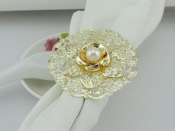 Fashion Gold Metal Flower Stili Anelli di tovagliolo Perle bianche Tovagliolo Fibbia per ricevimento di nozze Decorazioni per la tavola Forniture