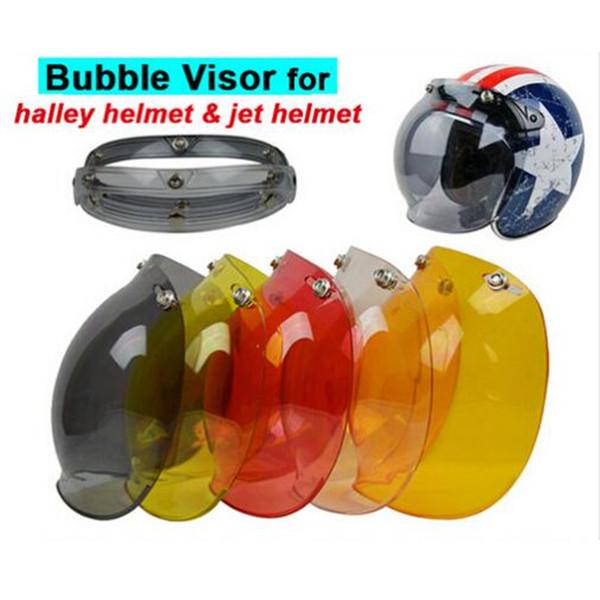 Wholesale- (1pc&5Colors) Hot Sales!!EVO Motorcycle Helmet Visor Jet Retro Hallar Vintage Bubble Visor Half Face Helmet Mask Accessories