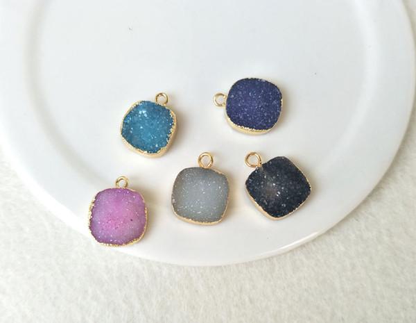 5pcs 12mm Square Gold Plated Natural Quartz Druzy Pendant Bead,Agate Geode Drusy Charm Jewelry necklace bracelet Making PD468