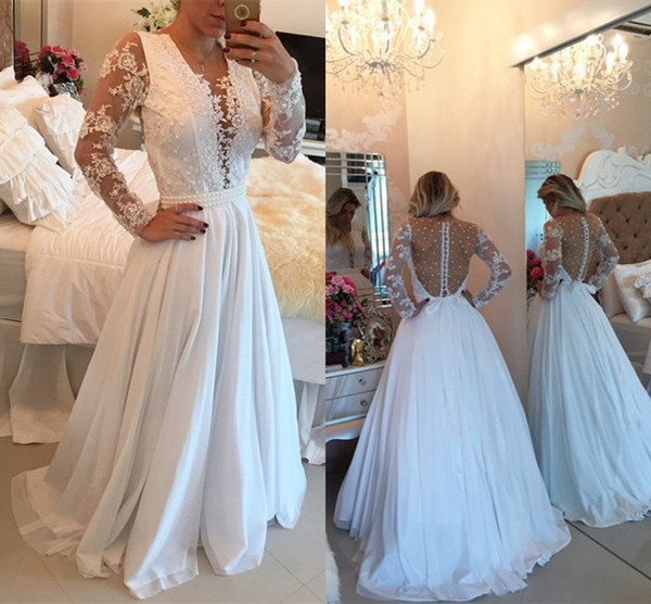 2018 Charming White Chiffon Long Evening Dresses With Pearl See-Through  Long Sleeve Dresses Evening f71b7caa9008