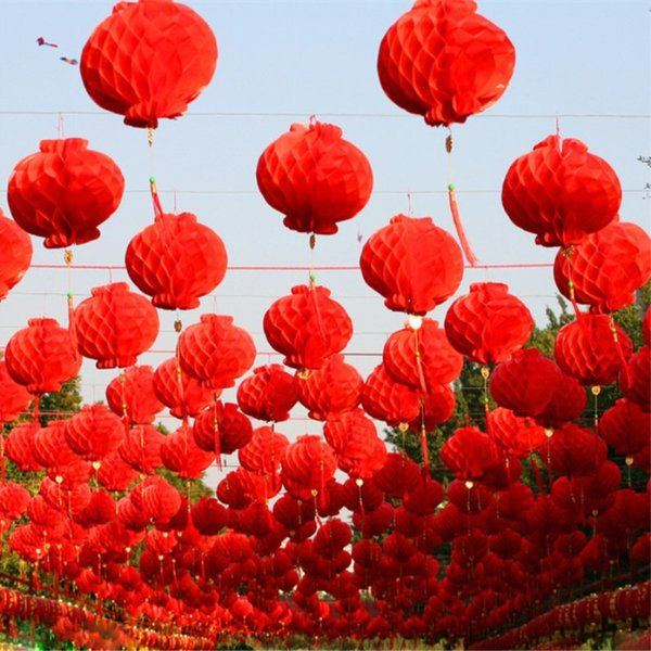 Mode Red Peace Festival En Plastique Papier Lanterne De Mariage De Noël Nouvelle Maison Haning Ball Ornement Fournitures Livraison Gratuite