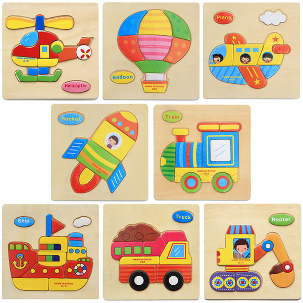 top popular Wholesale- Baby Kids Wooden Cartoon traffic Dimensional Puzzle Toys Force Children Jigsaw Puzzle Education Learning Tools 8 Style Options 2019