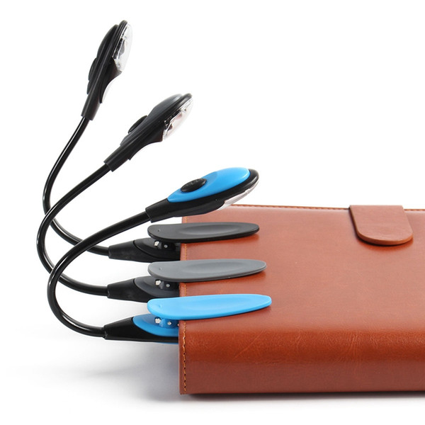 Mising Flexible Portable Mini Clip On Book light Desk Light Bright White LED Reading Lamp Travel Light Black/Blue/Grey ZJ0227
