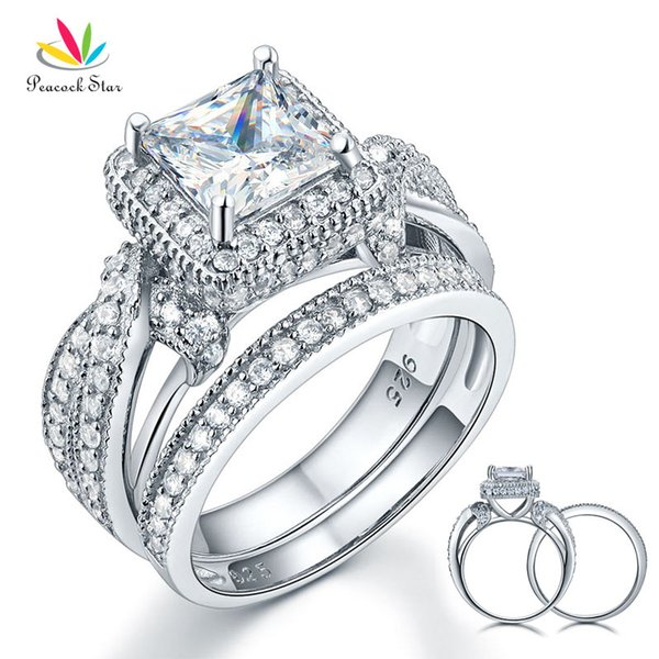 Peacock Star Solid 925 Sterling Silver Wedding Anniversary Engagement Ring Set Vintage Style Princess Created Diamond CFR8234