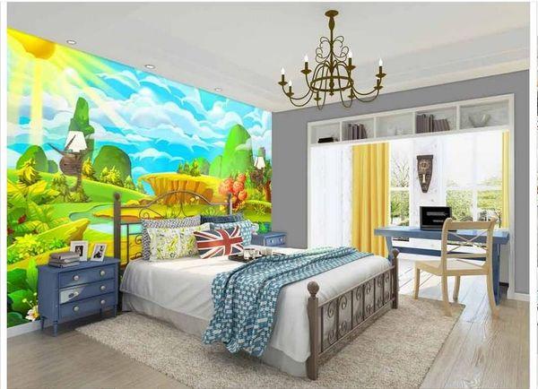 High End Custom 3d Photo Wallpaper Murals Wall Paper Anime Sunshine Under The Green 3d Living Room Wallpaper Background Wall Home Decor Free