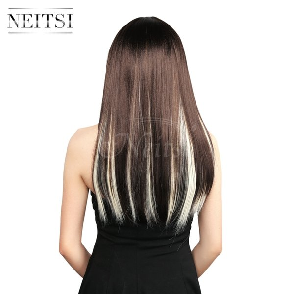 Neitsi 18inch Straight Highlight Clip In Synthetic Hair Extension