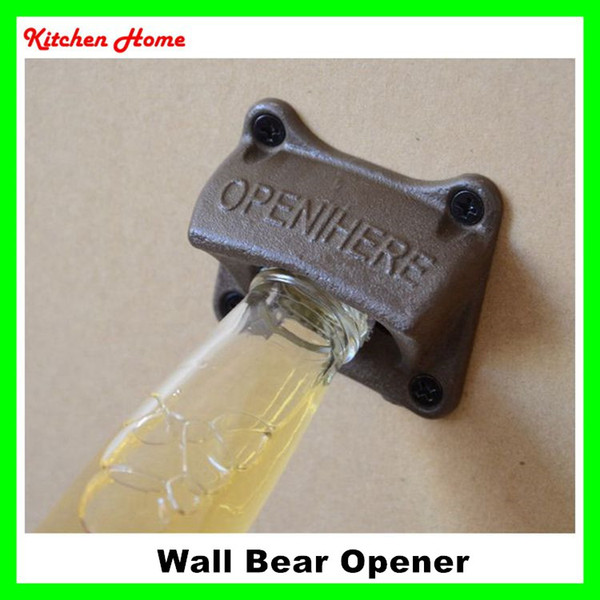 best selling Retro Metal Retro Wall Mounted Bottle Beer Coke Cap with Screws Wall Hanging Fixed Vintage Beer Opener Tools for Bar KTV Square Shape