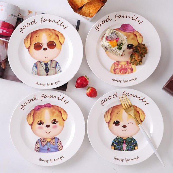 Cartone animato carino cane colazione piatti in ceramica creativo per bambini insalata di frutta in porcellana piatto di casa utensili da tavola