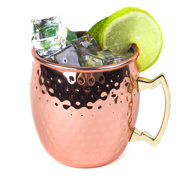 50pcs Hammered Copper Cup Mug Moscow Mule Cocktail Special Glass Stainless Steel Hammer Cups Plated Rose Gold Mugs